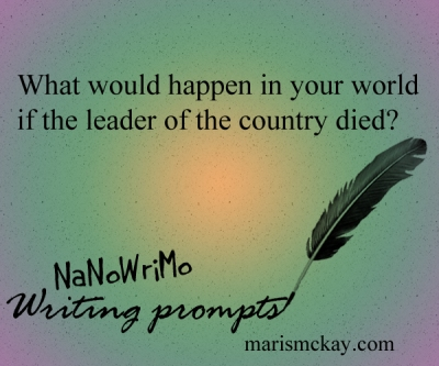 What would happen in your world if the leader of the country died?  NaNoWriMo Writing prompts at MarisMcKay.com
