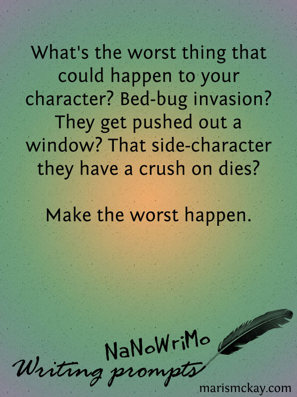 NaNoWriMo Writing Prompts | MarisMcKay.com #writingwednesday